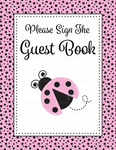 Baby Shower Guest List Set - Printable Download - Pink Black Ladybug Baby Shower Decorations - B10003
