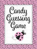 Candy Guessing Game - Printable Download - Pink Black Ladybug Baby Shower Game - B10003