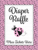 Diaper Raffle Tickets - Printable Download - Pink Black Ladybug Baby Shower Invitation Inserts - B10003