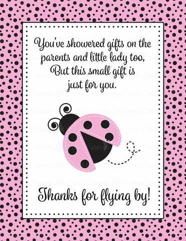 Thank You Favor Sign - Printable Download - Pink Black Ladybug Baby Shower Decorations - B10003