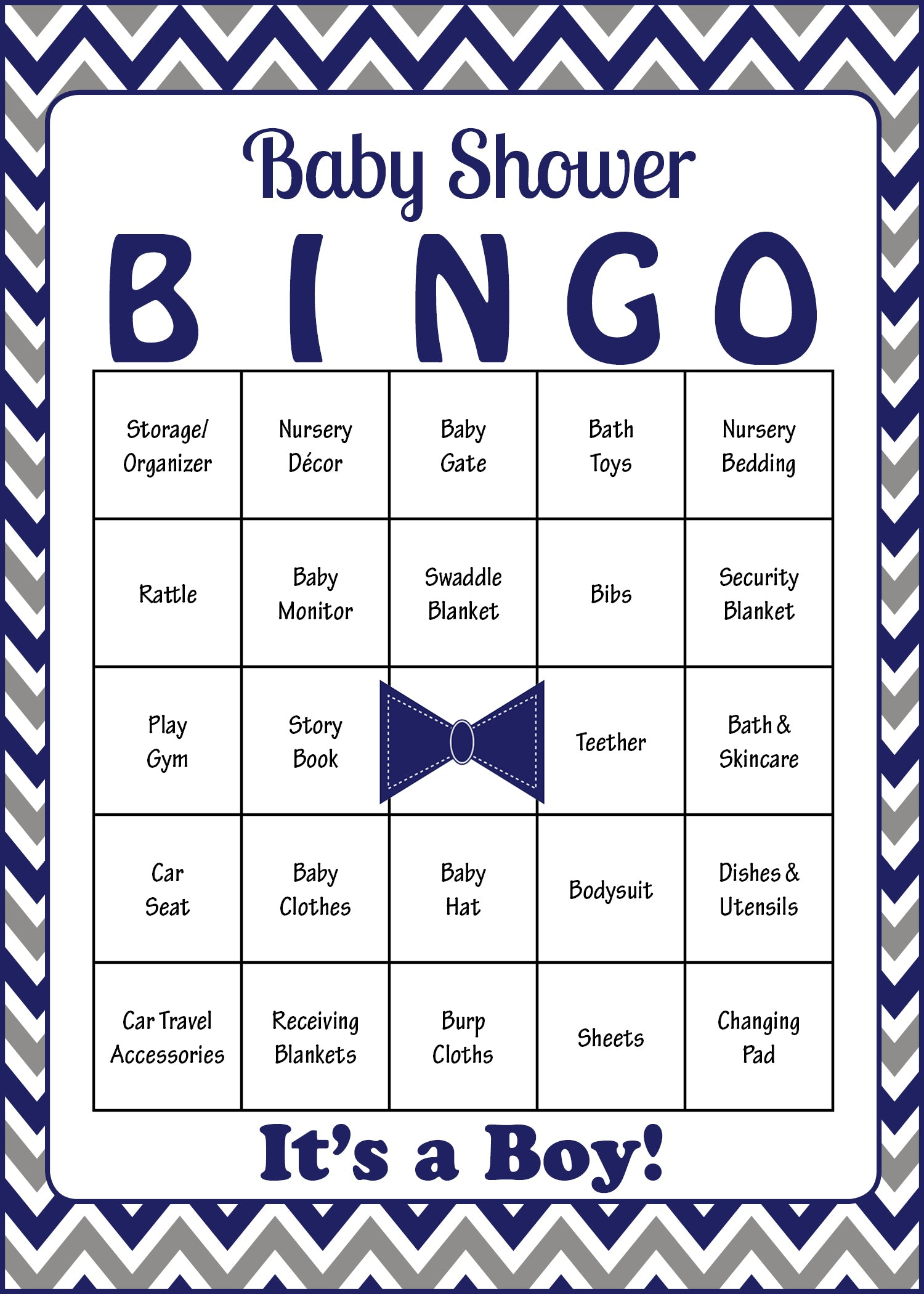 Little Man Baby Bingo Cards   PRINTABLE DOWNLOAD   Prefilled   Baby Shower  Game For Boy   Navy Gray Chevrons   B1006.