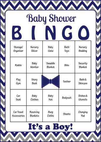 Little Man Baby Bingo Cards - PRINTABLE DOWNLOAD - Prefilled - Baby Shower Game for Boy - Navy Gray Chevrons - B1006