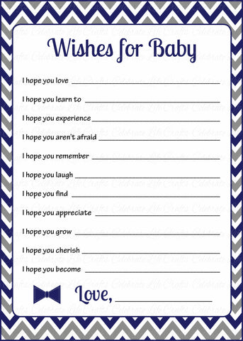 Wishes for Baby Cards - PRINTABLE DOWNLOAD - Navy Gray Little Man Baby Shower Activity - B1006