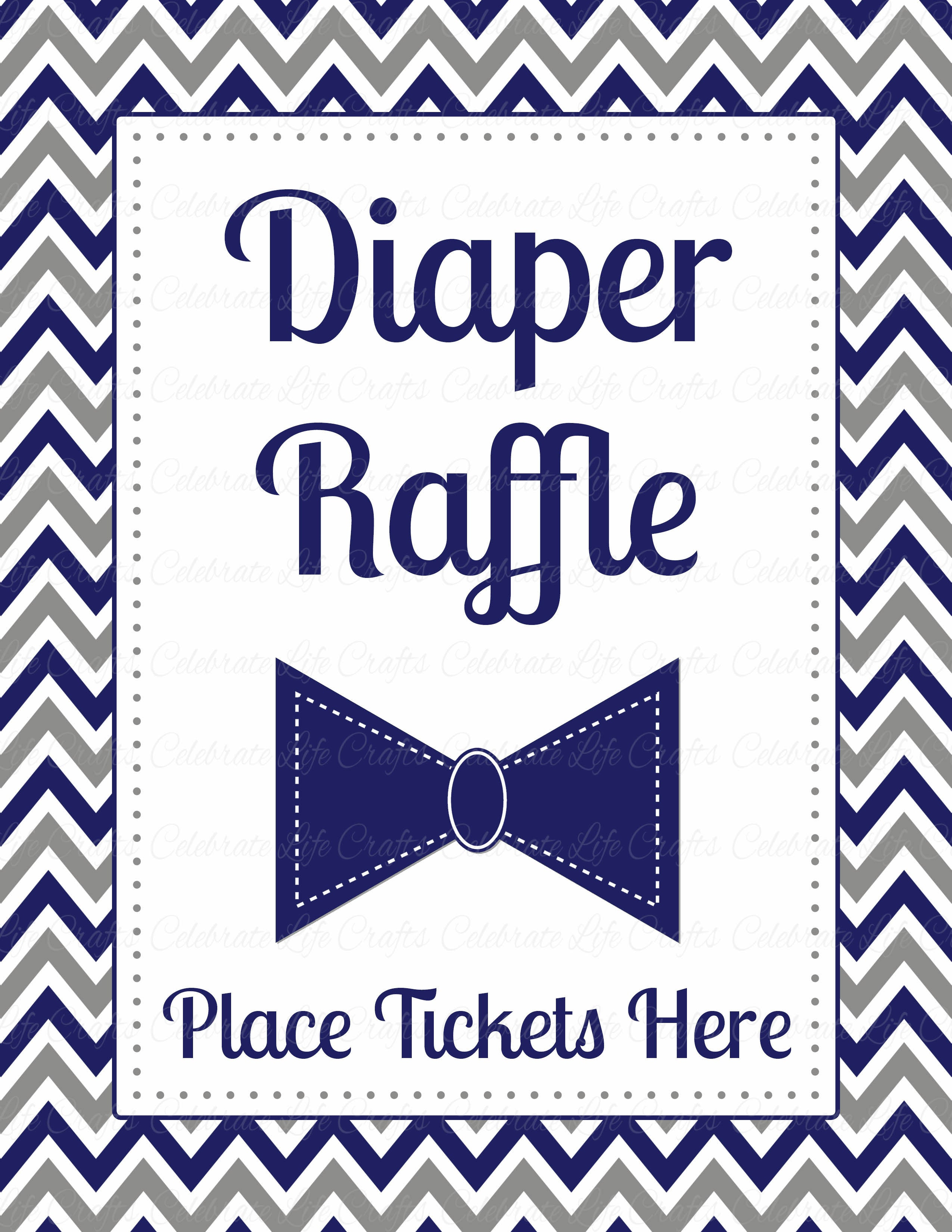 Diaper Raffle Tickets for Baby Shower - Little Man Baby Shower Theme ...