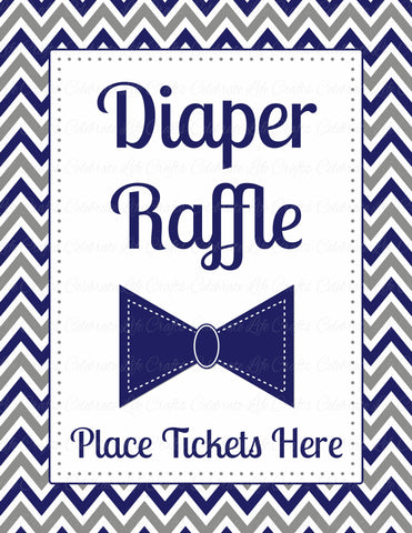 Diaper Raffle Tickets - PRINTABLE DOWNLOAD - Navy Gray Little Man Baby Shower Invitation Inserts - B1006