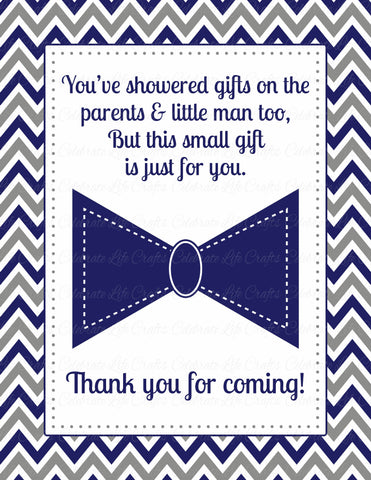Thank You Favor Sign - PRINTABLE DOWNLOAD - Navy Gray Little Man Baby Shower Decorations - B1006