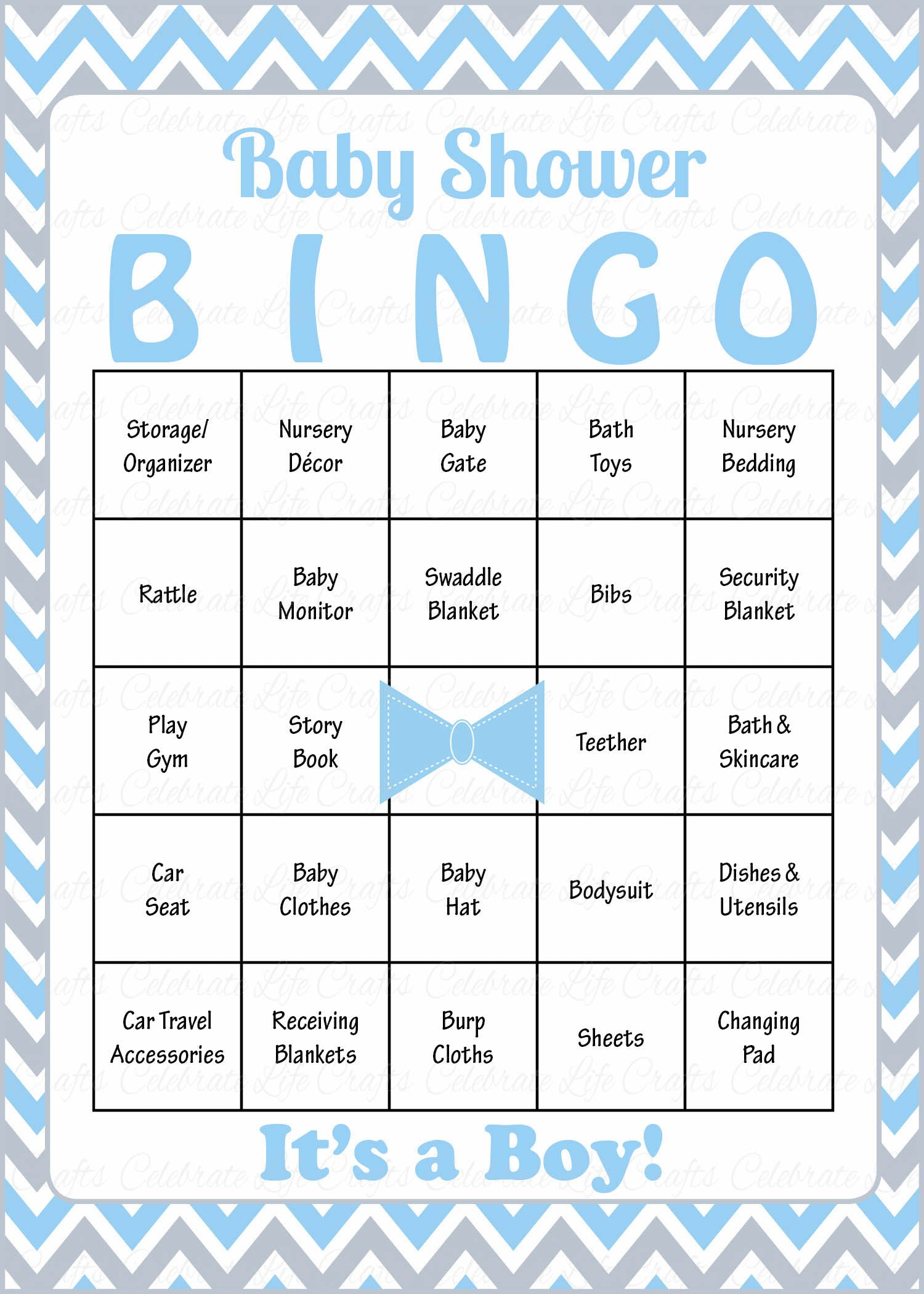 Little Man Baby Bingo Cards   PRINTABLE DOWNLOAD   Prefilled   Baby Shower  Game For Boy   Blue Gray Bowtie   B1008.