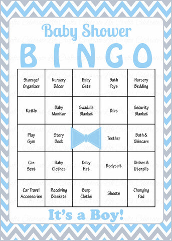 Little Man Baby Bingo Cards - PRINTABLE DOWNLOAD - Prefilled - Baby Shower Game for Boy - Blue Gray Bowtie - B1008