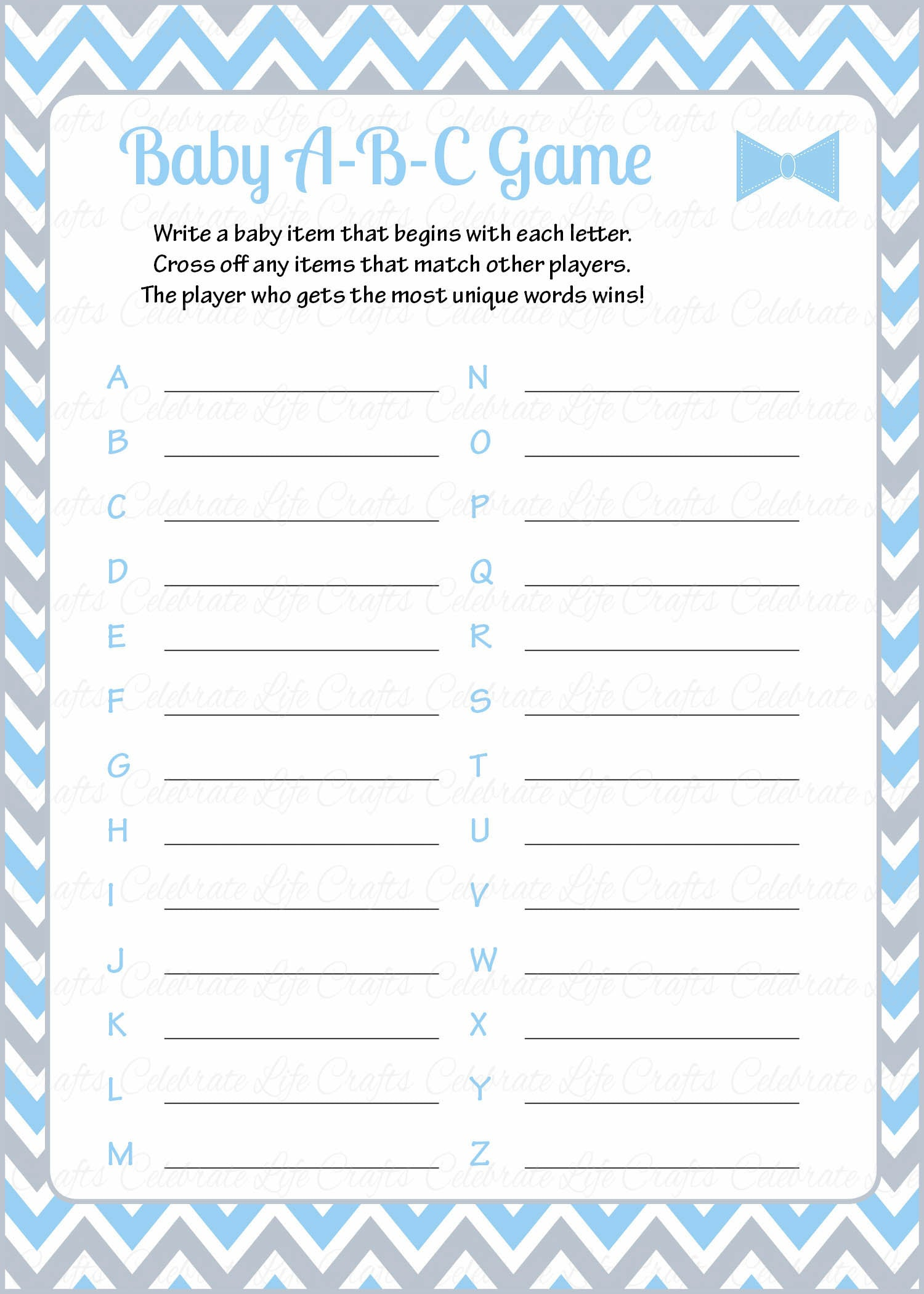 Baby ABC Game   PRINTABLE DOWNLOAD   Blue Gray Bowtie   Little Man Baby  Shower Game   B1008.