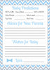 Prediction & Advice Cards - PRINTABLE DOWNLOAD - Blue Gray Bowtie - Little Man Baby Shower Activity - B1008