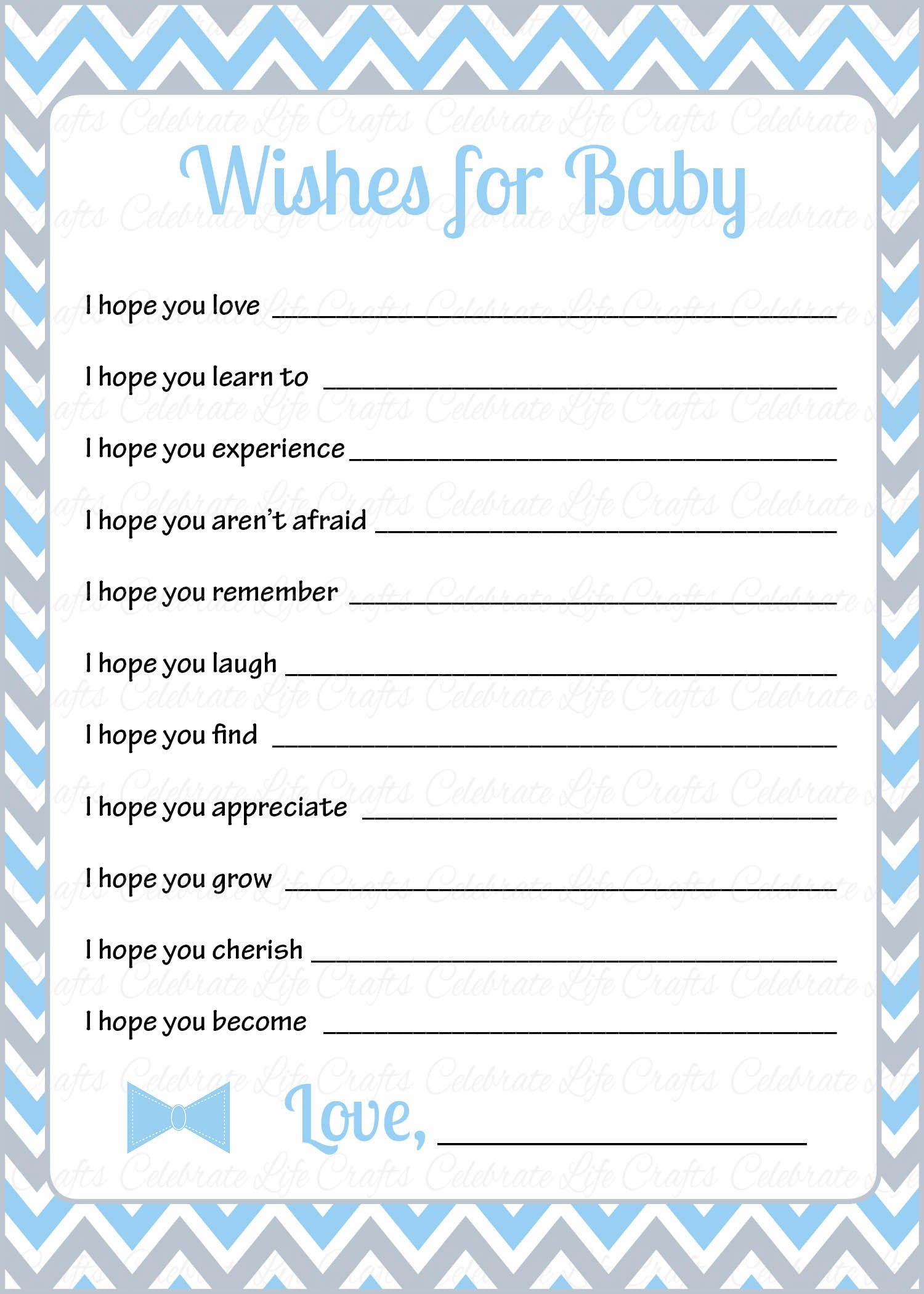 graphic about Printable Baby Cards called Would like for Little one Playing cards - PRINTABLE Down load - Blue Grey Bowtie - Small Gentleman Youngster Shower Video game - B1008
