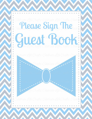 Baby Shower Guest List Set - PRINTABLE DOWNLOAD - Blue Gray Bowtie - Little Man Baby Shower Decorations - B1008