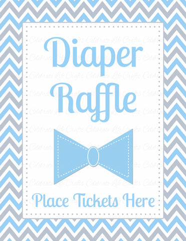 Diaper Raffle Tickets - PRINTABLE DOWNLOAD - Blue Gray Bowtie - Little Man Baby Shower Invitation Inserts - B1008