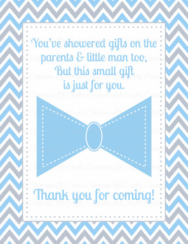 Thank You Favor Sign - PRINTABLE DOWNLOAD - Blue Gray Bowtie - Little Man Baby Shower Decorations - B1008