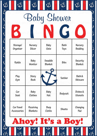 Nautical Baby Bingo Cards   Printable Download   Prefilled   Anchor Baby  Shower Game For Boy