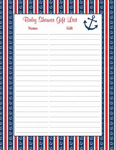 Baby Shower Gift List Set - Printable Download - Navy & Red Baby Shower Decorations - B15001