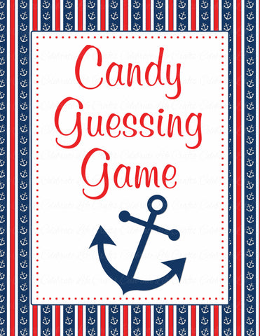Candy Guessing Game - Printable Download - Navy & Red Baby Shower Game - B15001