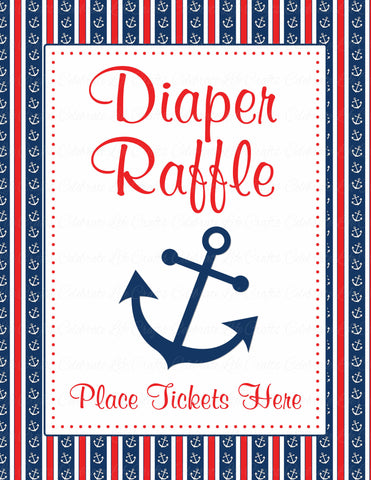 Diaper Raffle Tickets - Printable Download - Navy & Red Baby Shower Invitation Inserts - B15001