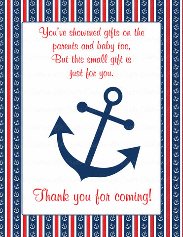 Thank You Favor Sign - Printable Download - Navy & Red Baby Shower Decorations - B15001