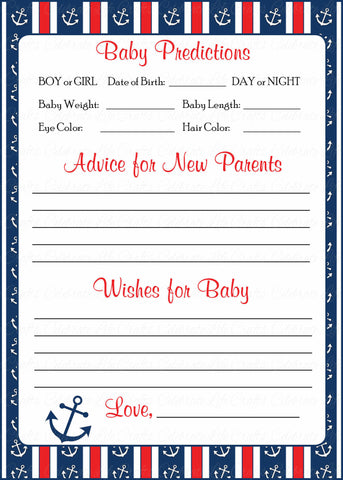 Prediction & Advice Cards - Printable Download - Navy & Red Baby Shower Activity - B15001