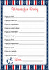Wishes for Baby Cards - Printable Download - Navy & Red Baby Shower Activity - B15001