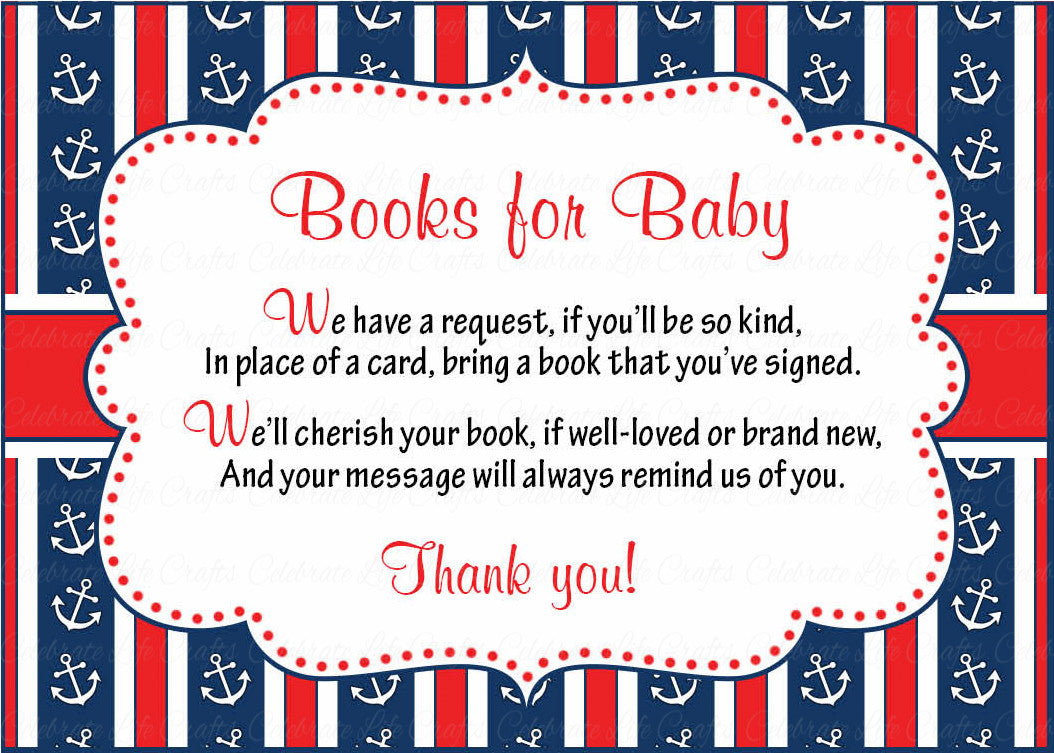 books for baby cards printable download navy red baby shower invitation inserts navy red b15001