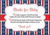 Books for Baby Cards - Printable Download - Navy & Red Baby Shower Invitation Inserts - Navy & Red - B15001