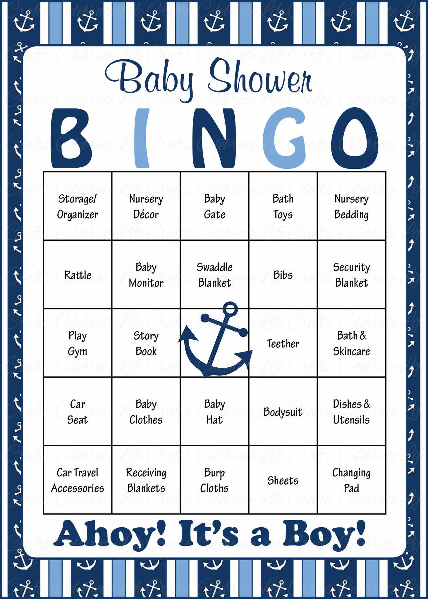 Nice Nautical Baby Bingo Cards   Printable Download   Prefilled   Anchor Baby  Shower Game For Boy   Navy U0026 Blue.