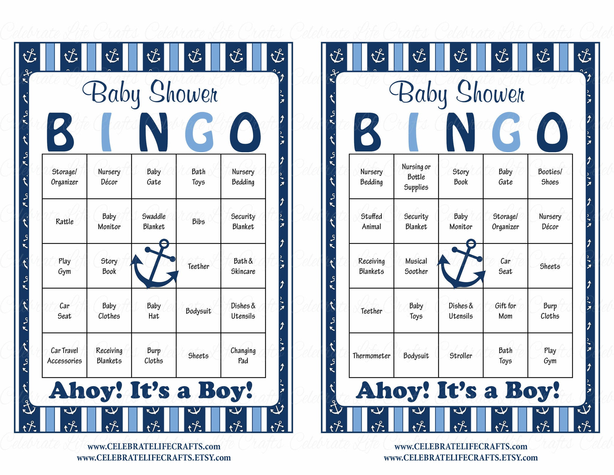 Nautical Baby Shower Game Download for Boy | Baby Bingo ...