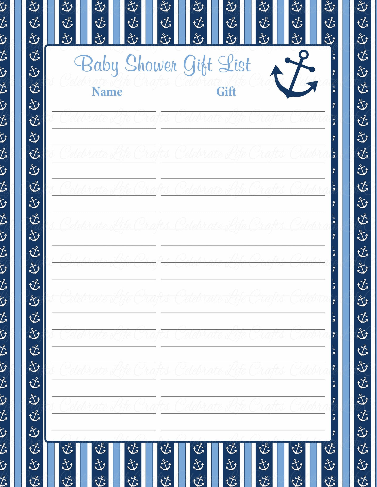 photo relating to Printable Baby Shower Gift List named Little one Shower Present Checklist Fastened - Printable Obtain - Military services Blue Boy or girl Shower Decorations - B15002