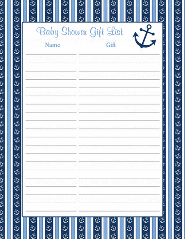 Baby Shower Gift List & Sign - Printable Navy & Blue Baby Shower Decorations - B15002