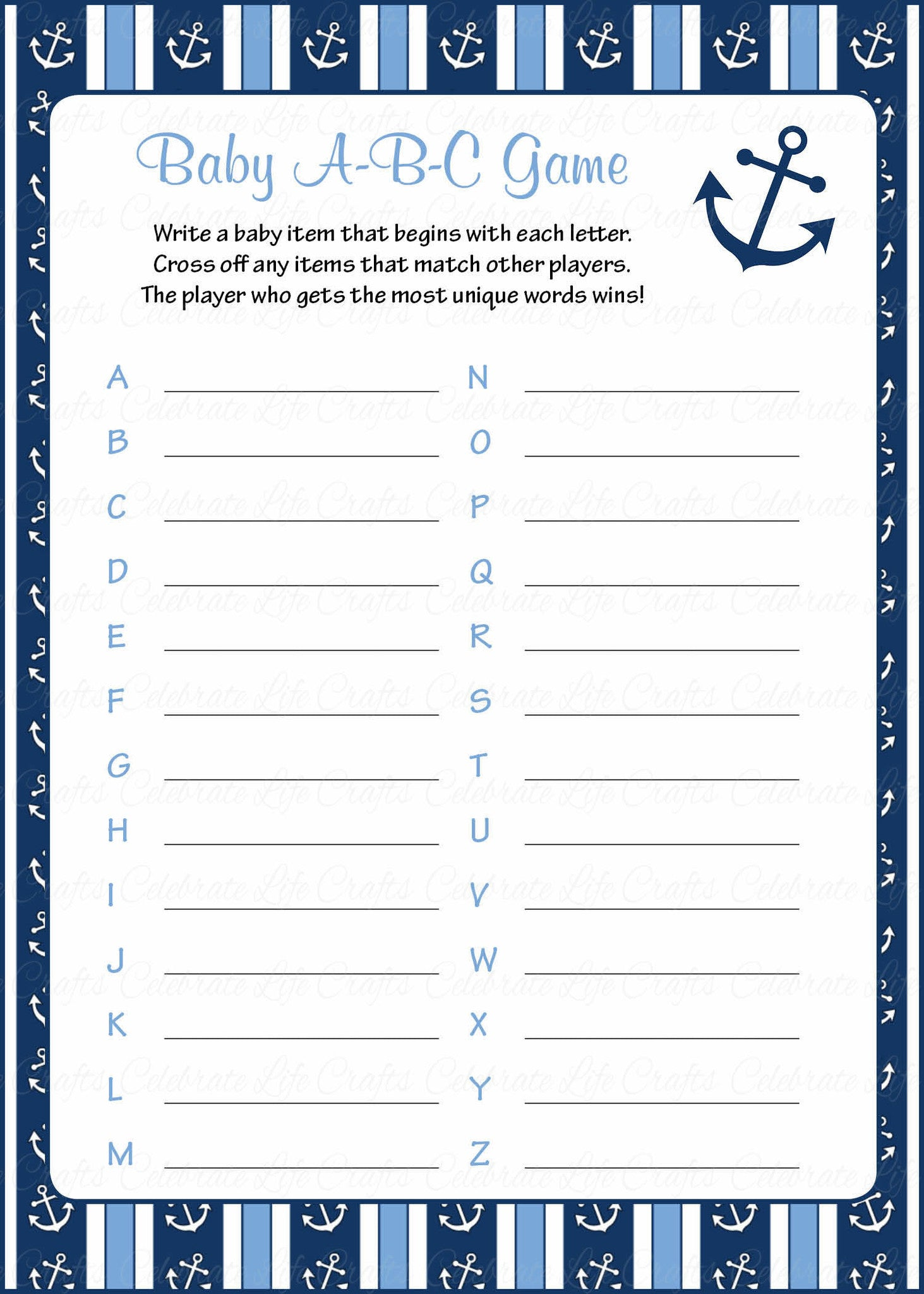 Baby ABC Game   Printable Download   Navy U0026 Blue Baby Shower Game   B15002.