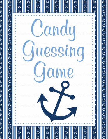 Candy Guessing Game - Printable Download - Navy & Blue Baby Shower Game - B15002