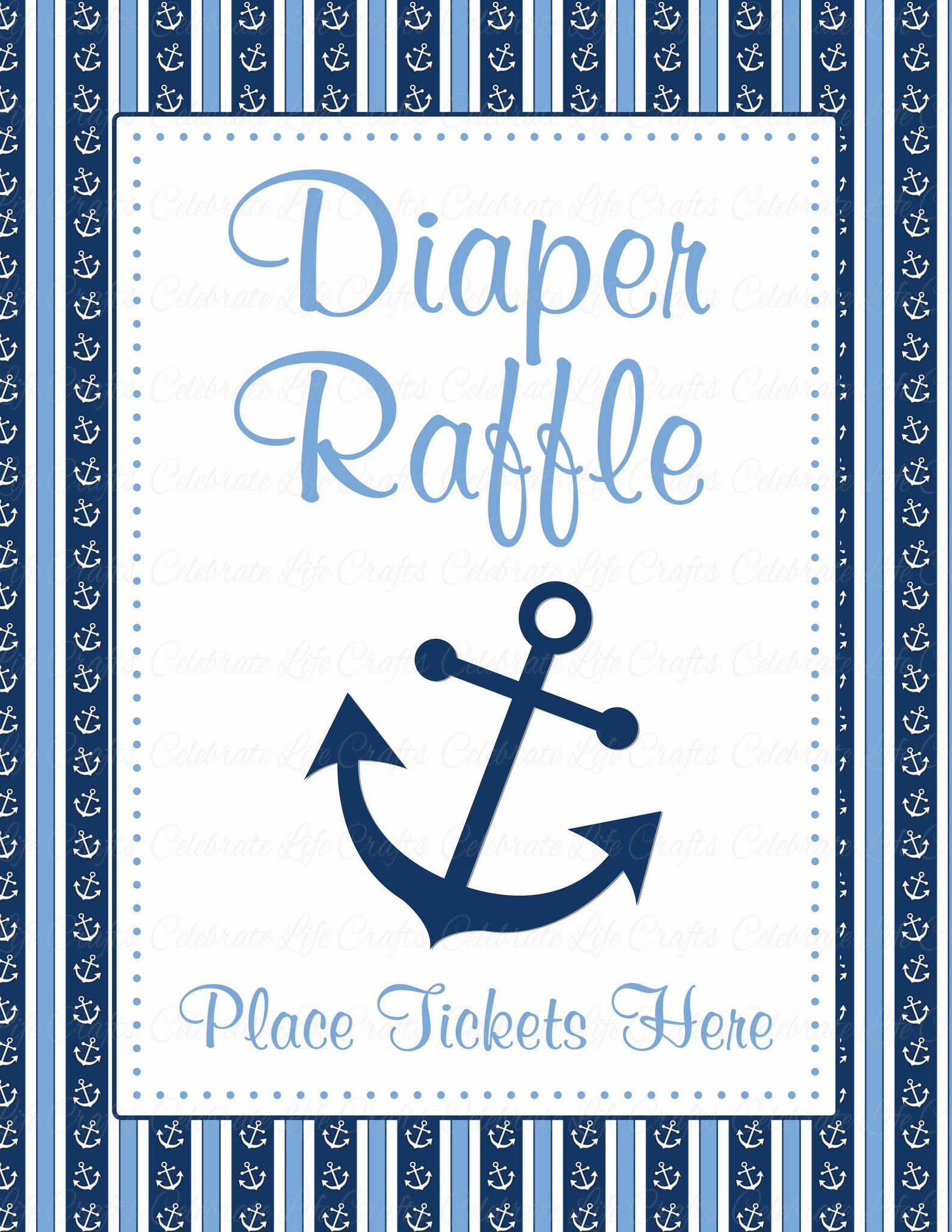 Diaper Raffle Tickets for Baby Shower - Nautical Baby Shower Theme ...