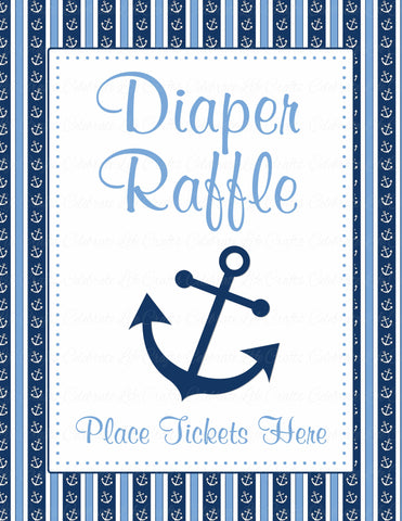 Diaper Raffle Tickets - Printable Download - Navy & Blue Baby Shower Invitation Inserts - B15002