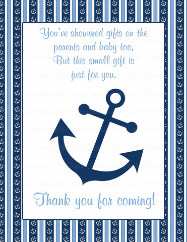 Thank You Favor Sign - Printable Download - Navy & Blue Baby Shower Decorations - B15002