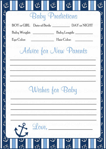 Prediction & Advice Cards - Printable Download - Navy & Blue Baby Shower Activity - B15002