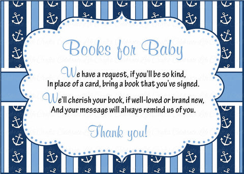 Books for Baby Cards - Printable Download - Navy & Blue Baby Shower Invitation Inserts - Navy & Blue - B15002