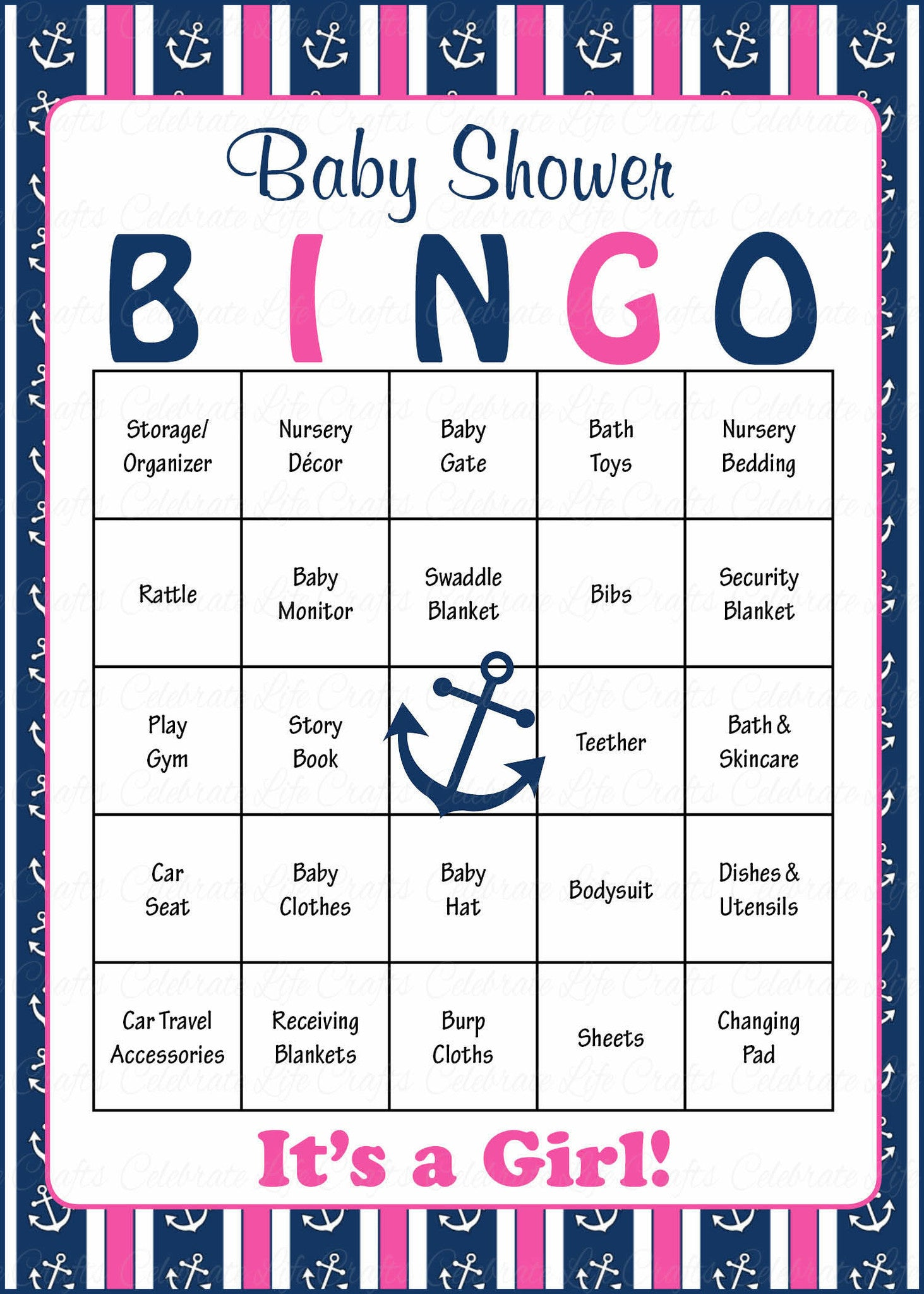 Nautical Baby Shower Game Download for Girl