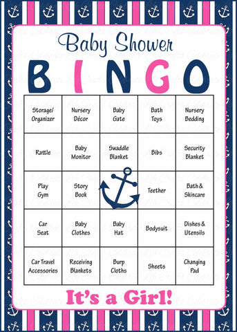 Nautical Baby Bingo Cards - Printable Download - Prefilled - Anchor Baby Shower Game for Girl - Navy & Pink
