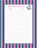 Baby Shower Gift List Set - Printable Download - Navy & Pink Baby Shower Decorations - B15004