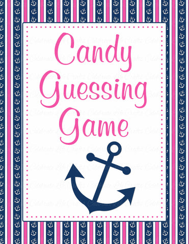 Candy Guessing Game - Printable Download - Navy & Pink Baby Shower Game - B15004