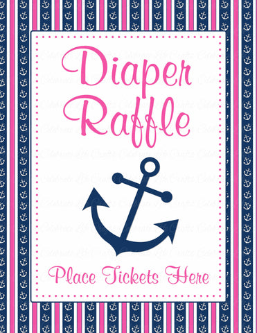 Diaper Raffle Tickets - Printable Download - Navy & Pink Baby Shower Invitation Inserts - B15004
