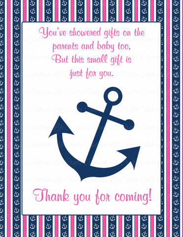 Thank You Favor Sign - Printable Download - Navy & Pink Baby Shower Decorations - B15004