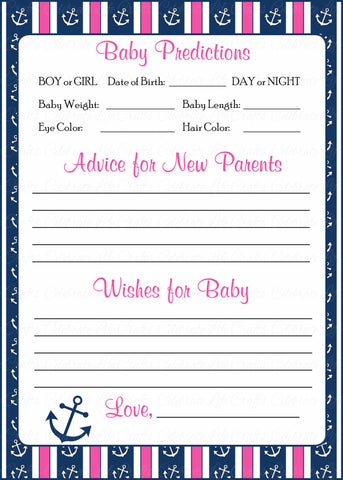 Prediction & Advice Cards - Printable Download - Navy & Pink Baby Shower Activity - B15004