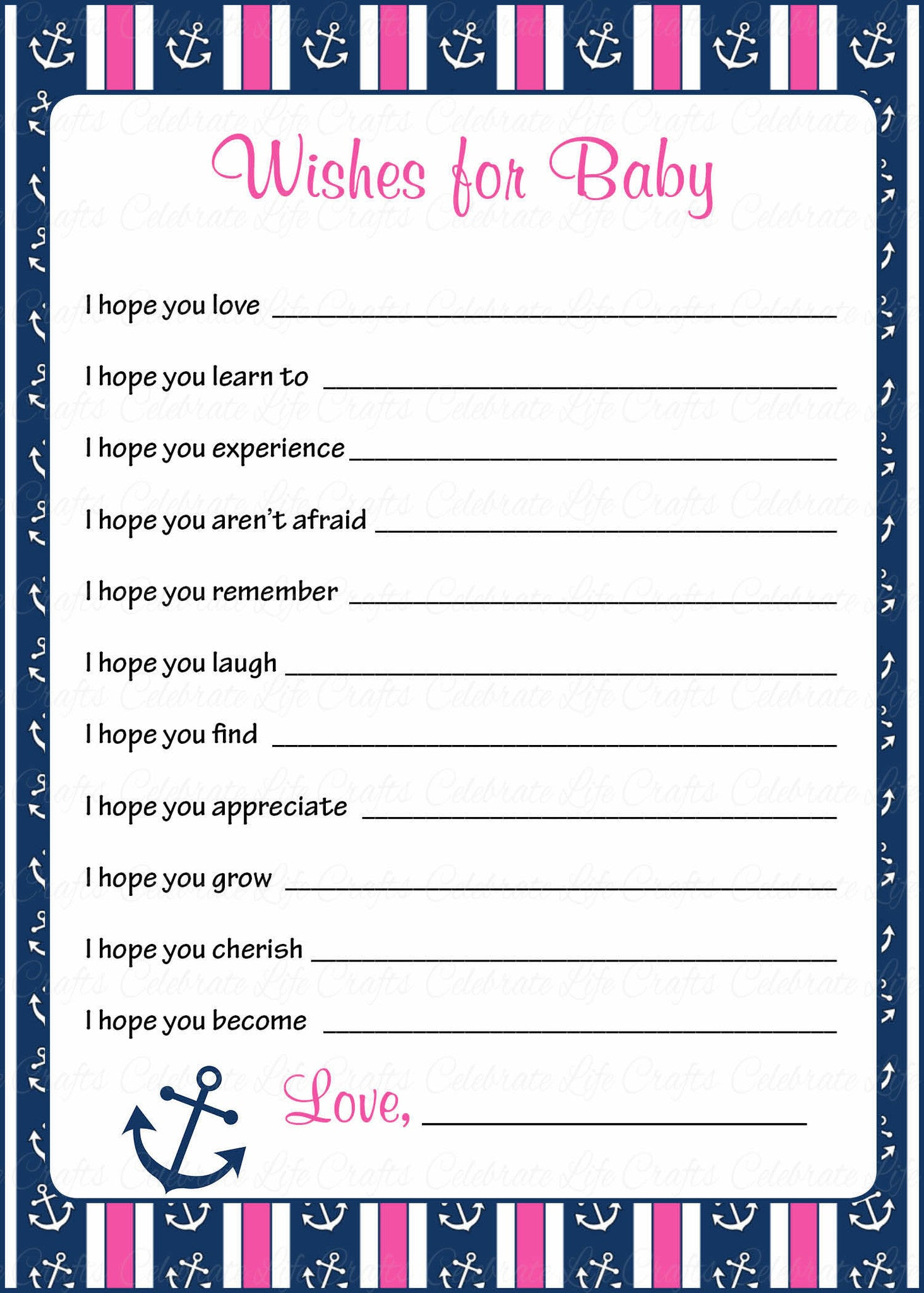 Wishes for baby shower activity nautical baby shower theme for wishes for baby cards printable download navy pink baby shower activity b15004 kristyandbryce Image collections