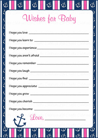 Wishes for Baby Cards - Printable Download - Navy & Pink Baby Shower Activity - B15004