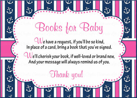 Books for Baby Cards - Printable Download - Navy & Pink Baby Shower Invitation Inserts - Navy & Pink - B15004