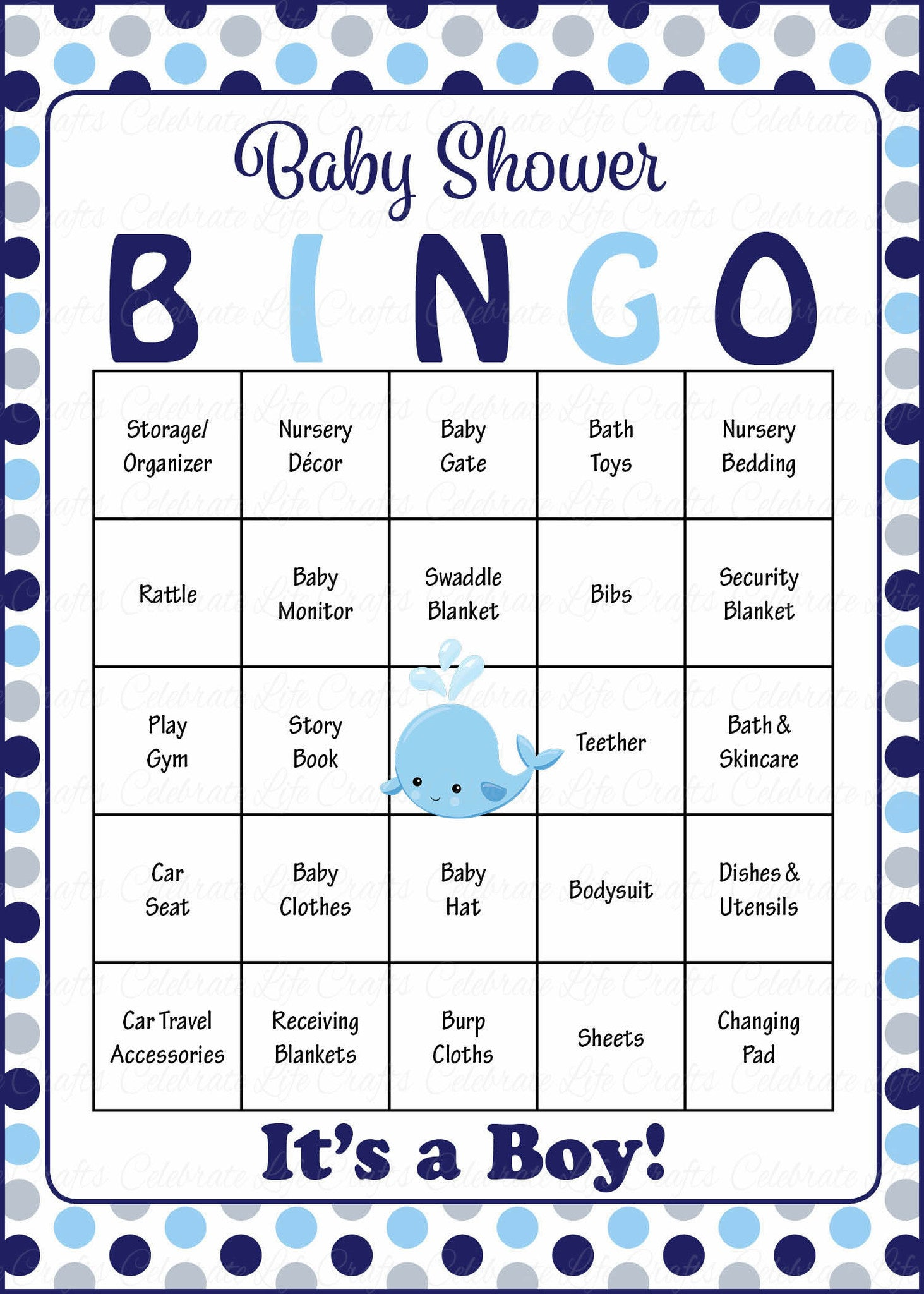Whale baby shower game download for boy baby bingo celebrate whale baby bingo cards printable download prefilled baby shower game for boy navy gray polka dots b15007 solutioingenieria Gallery