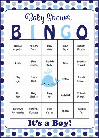 photo about Baby Bingo Printable titled Whale Boy or girl Bingo Playing cards - Printable Down load - Prefilled - Kid Shower Match for Boy - Armed forces Grey Polka Dots - B15007